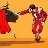 Illustration av en tjur och en matador Royaltyfria Bilder