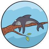 Illustration av en trött haj stock illustrationer