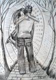Illustration av en ung man för flickaabumusa som dras med kol på spåret På bakgrunden av stiliserade stadsbyggnader Royaltyfri Foto