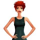 Illustration av en ung nätt kvinna med en stilfull frisyr kolonn stock illustrationer