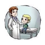 Illustration av en unge med doktorn Royaltyfri Bild