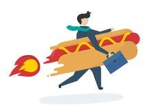 Illustration av ett affärstecken med snabbmat stock illustrationer