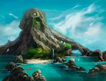 Illustration av ett berg i form av bläckfisken royaltyfri illustrationer