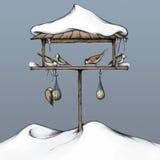 Illustration av ett fågelhus Arkivfoto