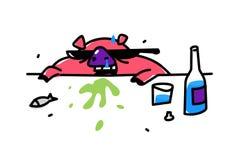 Illustration av ett gulligt alkosvin i solglasögon vektor Plan stil Svinet får drucken vodka Fylleristsvinkräkningar Internetmeme royaltyfri illustrationer