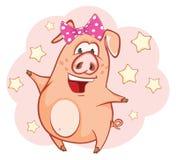 Illustration av ett gulligt svin huvudet för uppnosiga gulliga hundar för bakgrundstecknad filmteckenet isolerade det lyckliga le Royaltyfri Bild