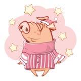 Illustration av ett gulligt svin huvudet för uppnosiga gulliga hundar för bakgrundstecknad filmteckenet isolerade det lyckliga le Arkivfoto