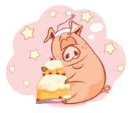 Illustration av ett gulligt svin huvudet för uppnosiga gulliga hundar för bakgrundstecknad filmteckenet isolerade det lyckliga le Arkivbilder