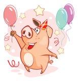 Illustration av ett gulligt svin huvudet för uppnosiga gulliga hundar för bakgrundstecknad filmteckenet isolerade det lyckliga le Royaltyfria Bilder