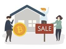 Illustration av ett hus på försäljning royaltyfri illustrationer