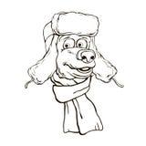 Illustration av ett huvud för björn` s i vinterhatt och halsduk stock illustrationer