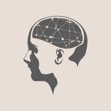 Illustration av ett kvinnahuvud med hjärnan Royaltyfri Fotografi