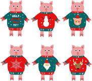 Illustration av ett piggy symbol för nytt år i en tröja royaltyfri illustrationer
