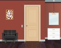 Illustration av ett rum med dörrar, en stol, byrå Inre av rummet med möblemang Royaltyfri Fotografi