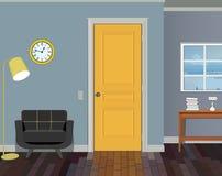 Illustration av ett rum med gula dörrar, en stol, böcker, golvlampan och klockan Inre av rummet med möblemang Fotografering för Bildbyråer