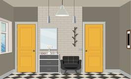 Illustration av ett rum med gula dörrar, en stol, böcker, lampan och byrån Inre av rummet med möblemang Royaltyfria Foton