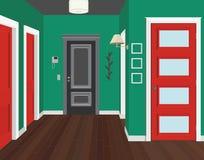 Illustration av ett rum med röda dörrar Inre av rummet med möblemang Illustrationhall Arkivbild