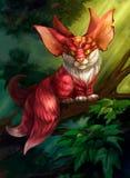 Illustration av ett sagolikt djur i skogen vektor illustrationer