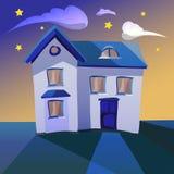 Illustration av ett tecknad filmhus på natten Arkivfoton
