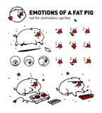 Illustration av ett tecknad filmsvin vektor plan översiktsstil För riktiga kännare av animeringen Musikaliskt griskött En uppsätt stock illustrationer