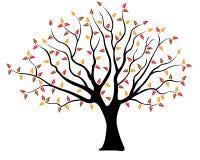 Illustration av ett träd med gula och röda sidor för brunt, vektor illustrationer