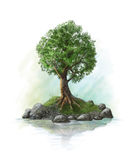 Illustration av ett träd på en ö Arkivbilder