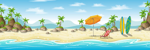Illustration av ett tropiskt kust- landskap stock illustrationer