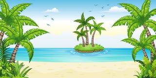 Illustration av ett tropiskt kust- landskap vektor illustrationer