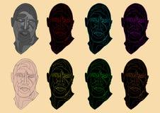 illustration av ett unikt färgrikt mänskligt huvud royaltyfri foto