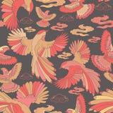 Illustration av fåglar, blå nötskrika, falkar i flykten stock illustrationer