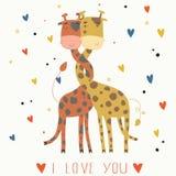 Illustration av förälskade giraff. Arkivbild