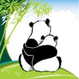 Illustration av förälskat sammanträde för pandapar på gräset Royaltyfri Illustrationer