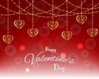 Illustration av förälskelse och den lyckliga dagen för valentin` s, bubbla med guld- hjärtaform som svävar på röd bakgrund med me Royaltyfria Foton