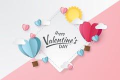 Illustration av förälskelse- och valentindagen med den hjärtabaloon, solen och moln arkivfoto