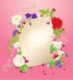 Illustration av förälskelsebokstaven med hjärtor och blomman vektor illustrationer