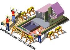 Illustration av för arkitekturkonstruktion för information det grafiska begreppet Arkivbild