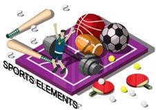 Illustration av för sportutrustning för information det grafiska begreppet Royaltyfri Bild