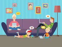 Illustration av familjen som använder elektroniska grejer royaltyfri illustrationer