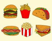 Illustration av fastfood i tecknad filmstil Den färgrika hamburgare- och smörgåsvektorillustrationen för meny planlägger royaltyfri illustrationer