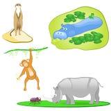 Illustration av fastställda isolerade wild djur Arkivfoto