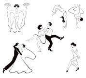 Illustration av fem dansstilar: Japansk dans, royaltyfri illustrationer