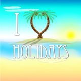 Illustration av ferier på stranden med förälskelsepalmträd Royaltyfria Foton