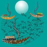 Illustration av fiske på havet stock illustrationer