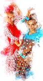 Illustration av flamencodansare i en typisk zigensk dräkt från Seville royaltyfri illustrationer