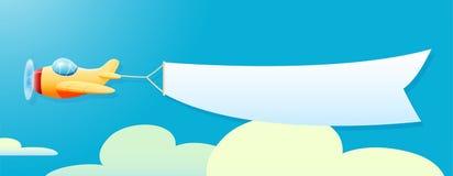 Illustration av flygplanet med banret stock illustrationer