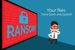 Illustration av folk på bakgrundsdata som kodade vid lösenware Arkivfoto