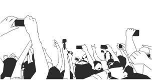 Illustration av folk som antecknar som fångar på konserten med telefoner och kameror i svartvitt stock illustrationer
