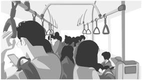 Illustration av folk som använder kollektivtrafik, buss, drev, tunnelbana, gångtunnel stock illustrationer
