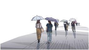 Illustration av folk som går i regnet med paraplyer i perspektiv stock illustrationer