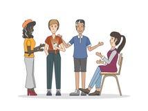 Illustration av folk som har en diskussion som delar gemenskapbegrepp stock illustrationer